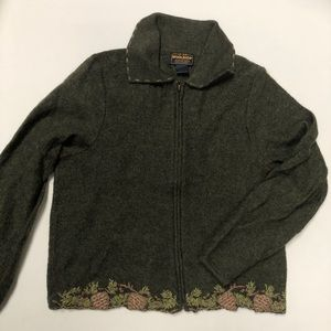 Woolrich Zipper Cardigan, Forest Green Pincones